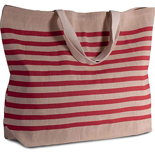 noTrash2003 Großer Shopper aus Jute-Baumwoll-Mischgewebe Tasche Strandtasche Shopper Tragetasche versch. Farben (Natural/Red) -