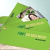 Originelle Einladungskarten zum 50 Geburtstag, Fünfzich 200 Karten, Kartenfächer 210x80 inkl. weiße Umschläge, Grün