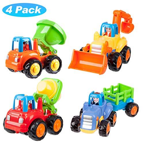 PAICloud 4er Pack Kinderauto Spielzeug Set Traktor Bulldozer Fahrmischer und Muldenkipper für Kinder Kinder Jungen Mädchen Reibungsmotor Push and Go Fahrmischer Set -