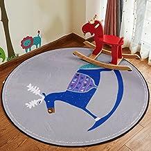 YHJ alfombra Alfombra redonda Niños de dibujos animados Manta Salón Dormitorio Dormitorio Cama de cabecera Mesa de café Cesta de la computadora Silla de silla ( Tamaño : Diameter 80cm )