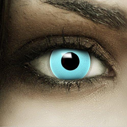 Farbige blaue Kontaktlinsen Blau + Kunstblut Kapseln + Behälter von FXCONTACTS®, weich, ohne Stärke als 2er Pack - perfekt zu Halloween, Karneval, Fasching oder Fasnacht