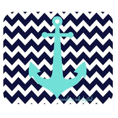 Anchor Navy Blue Chevron Zigzag Pattern Gaming Mouse Pad Mousepad 7.08X8.66 inches/18X22 cm with Non-Slip Rubber Backed (Mini-maus Chevron)