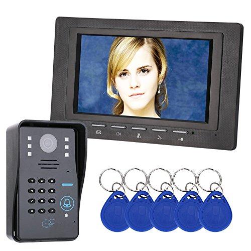 """Lifesongs-Videoportero Intercomunicador de puerta Intercom 7"""" RFID Intercomunicación de timbre Timbre con cámara IR 1000 Línea de TV para el sistema de control de acceso a casa"""