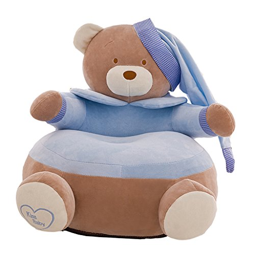 LOVIVER Ersatzbezüge für Kinder Sessel Kindersessel Mädchen , Kinder Kleinkind Sitzsack Cover - Bär -Blau