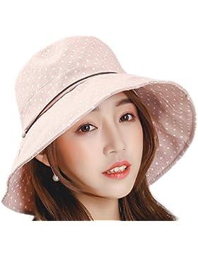 Laat moda sol sombreros gorra verano Chapeau sombrero de ala ancha playa mujeres tocados Dot Impreso rosa claro...