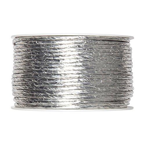 FloristryWarehouse bande de cordon Papier Argent 2 mm Diamètre interne avec fil 50 m