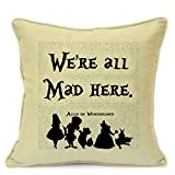 "Vintage Alice in Wonderland Disney Quotes Birthday Party Gifts For Kids Girls Nursery Art Handmade 18"" Cushion WITH INFILL For Sofa Chair Couch Living Room Bedroom Christmas Xmas"
