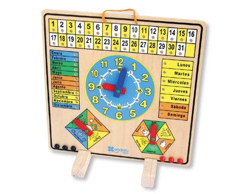 """Andreu Toys - Calendario-reloj """"El Tiempo"""", hecho en madera (16036.0)"""