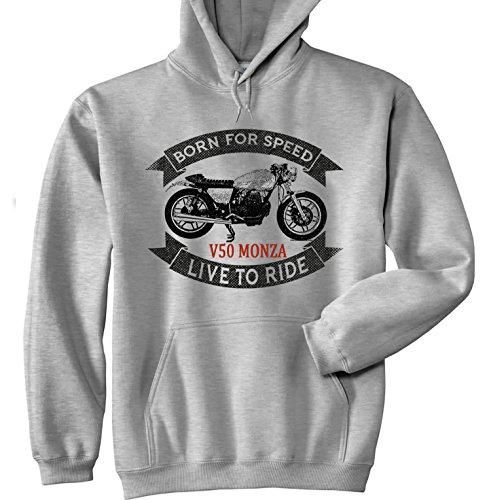 TEESANDENGINES Moto Guzzi V50 Monza Felpa Grigia con Cappuccio di Cotone Size XXL