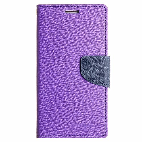 Avzax Stylish Luxury Magnetic Lock Diary Wallet Style Flip Cover Case for Xolo Q1200 - Purple