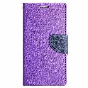 Avzax Stylish Luxury Magnetic Lock Diary Wallet Style Flip Cover Case for Karbonn Aura 1GB RAM - Purple