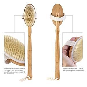 OULII Bathbrush Premium Naturale Cinghiale Setola corpo spazzola manico lungo con testa staccabile per esfoliante ridurre la Cellulite migliora la circolazione