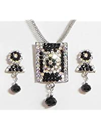 DollsofIndia Black With White Stone Studded Pendant With Chain And Earrings - Stone And Metal (FS46-mod) - Black