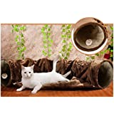 Cat Tunnel Toy and Bed 2 in 1 ,Myguru Collapsible Removable Warm Plush Bed with Scratching Ball for Puppy Kitten Kitty Crate Cage Shack House (Coffee)