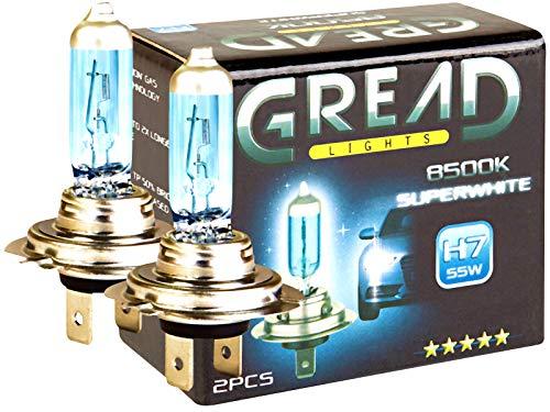 Gread - Bombilla halógena (efecto xenón, H7, 8500 K, 55 W, certificado CE, luz ultrablanca)