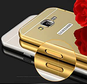 IDEAL For Samsung Galaxy Grand Prime / G530 : IDEAL Luxury Gold Plating Aluminum Metal Back Cover -: Metal Bumper + Acrylic Mirror Back Case For Samsung Galaxy Grand Prime / G530 - GOLD