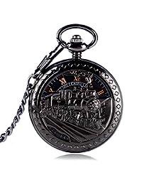 Reloj de Bolsillo único, Exquisito Esqueleto para Correr, Tren de Vapor, Reloj de Bolsillo para Hombres, Reloj de Bolsillo mecánico con Cuerda de Mano, Regalo – jlyshop