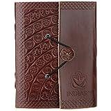 indiary Luxusnotizbuch aus Büffelleder und handgeschöpftem Papier - Stamped Blossoms