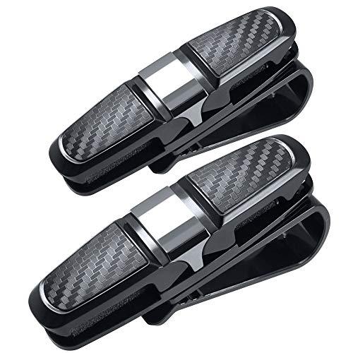 2er Pack Brillenhalter für Auto Sonnenblende-Doppel Sonnenbrille Visier Clip Wire Frame - Sonnenbrille Brillenhalter mit Ticket Card Clip Tickets Farbe Silber
