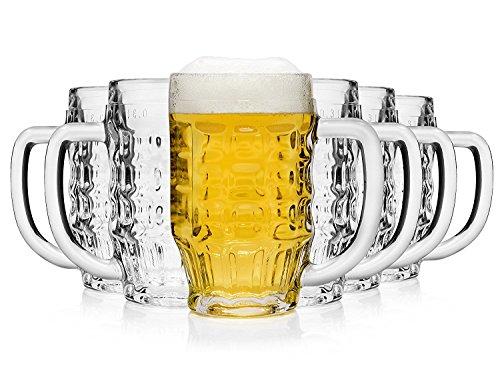 Bormioli Rocco 133910337 Malles Bierseidel, Bierkrug, Bierglas, 370 ml, mit Füllstrich bei 0,3l, Glas, transparent, 6 Stück