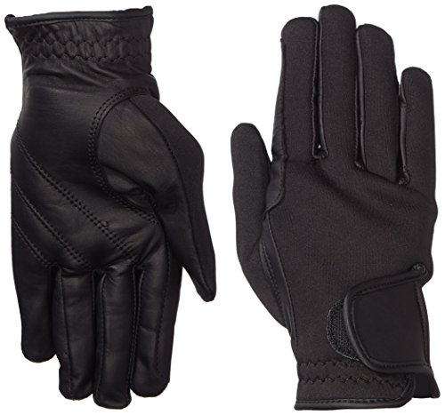 Riders Trend Erwachsene Reiter Handschuhe Reithandschuhe Neopren innen Ziegenanilinleder Black M