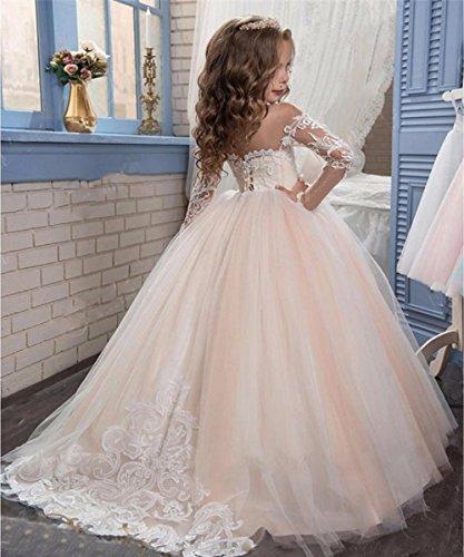 a0bb87231 KekeHouse® Vestido de bola Cordón Mangas largas Vestidos de niña de las  flores Tul Princesa Chicas Niños Vestir Vestido de comunión para Boda ...