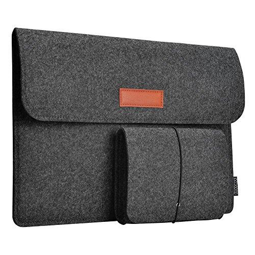 dodocool 12 Zoll Laptop Sleeve Hülle Tasche Tragetasche Filz mit Mini Beutel für 12 inch Apple MacBook Ultrabook Laptop dunkel grau (Taschen Laptop Buch)