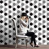 JY ART Fliesenaufkleber für Küche und Bad | Mosaik-Stil Designs Wandfliesen Aufkleber für Fliesen | Fliesen-Aufkleber Folie | Hexagon Deko-Fliesenfolie Schwarz und weiß, 20cm*5m