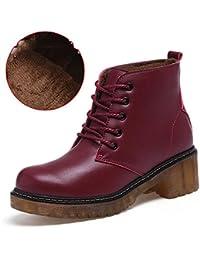 BUSL Botines con botines de algodón para mujeres más efectivo más botas de nieve de algodón para el otoño y el invierno . wine red . 35