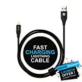 #1: Affix USB A to Lightning Cable (1.5 Meter/4.9 Feet) - 2.4 Amp Fast Charge, Data Transfer, Durable, high Speed Data Cable - Black