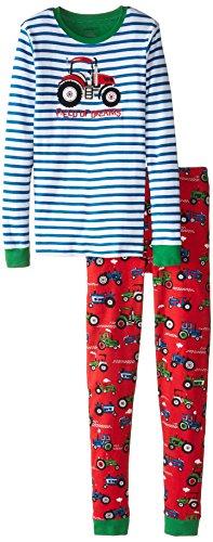Hatley Jungen, Zweiteiliger Schlafanzug, Pj Set (App) -Farm Tractors, Rot (Red), Gr. 2 Jahre (Baby-jungen-pyjama Loungewear)