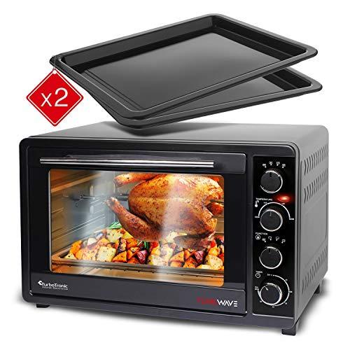 Mini Backofen 45L mit 2x Backblech, Grillofen inkl. elektrischer Drehspieß, Pizza-Ofen mit Innenbeleuchtung, Umluft & Timer Funktion, Doppelverglasung, 2000 Watt