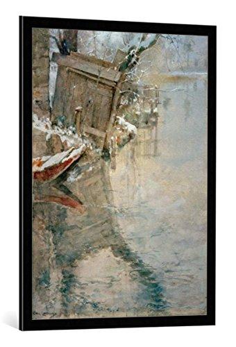 kunst für alle Bild mit Bilder-Rahmen: Carl Larsson Waschaus an der Loing - dekorativer Kunstdruck, hochwertig gerahmt, 70x95 cm, Schwarz/Kante grau -