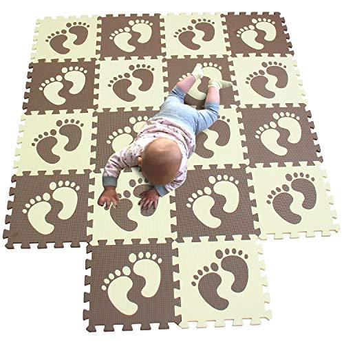 MQIAOHAM 18 pcs fußabdruck Kaffee-beige aktivität kleine pluzze Nicht giftig Jigsaw wasserdichte Turnhalle mädchen dick Spielen Jigsaw Kleinkind P02702G18