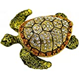 LA HAUTE Beautiful Pattern Crystal Studded Pewter Jewellery Trinket Box with Gift Box (Sea Turtle)