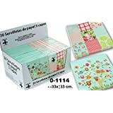 DonRegaloWeb - Display de 24 paquetes con 20 servilletas de papel de triple capa decoradas con dibujos en cuadros y arbol con buhos y multiples colores