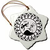 3dRose orn_39923_1 BMX Medallion 1A on Black Snowflake Ornament, Porcelain, 3-Inch