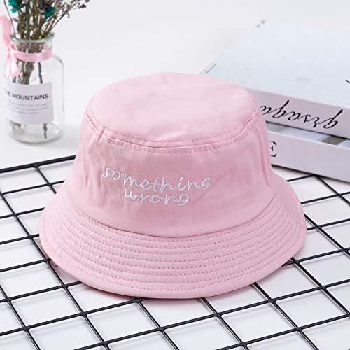 ChildHat 2018 Hut für Kinder,Bestickter Hut Persönlichkeit männliche und weibliche Fischer Hut Text Stickerei Hut faltbar Schatten Flut, Englisch rosa, M (56-58 cm)