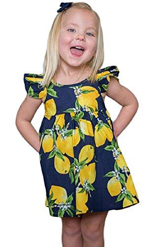 Faymio Little Baby Doll Lemon Fruity Print Flutter Sleeves Crisscross Straps at Back Girls Mini Dress Sundress (Sleeve Flutter Dress Floral)