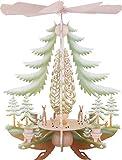 Weihnachtspyramide 1-stöckige Pyramide mit geschnitzten Rehen, farbig - 35cm - Original Erzgebirge - Kunstgewerbe Taulin