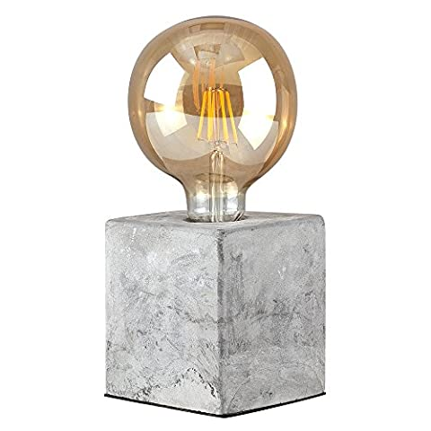 Retro Style Cube Design Cement / Stone Effect Table Lamp - Complete with a 6w LED Edison Steampunk Giant Globe Squirrel Cage Bulb [2700K Warm