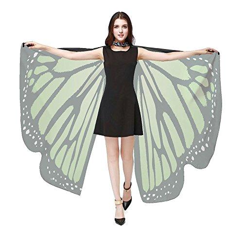 iYmitz Karneval Mode Damen Schmetterlingsflügel Frauen Schals Poncho Kostüm Zubehör Party Pashmina Zubehör Fasching Kostümzubehör(Grün,Free - Paso Doble Kostüm