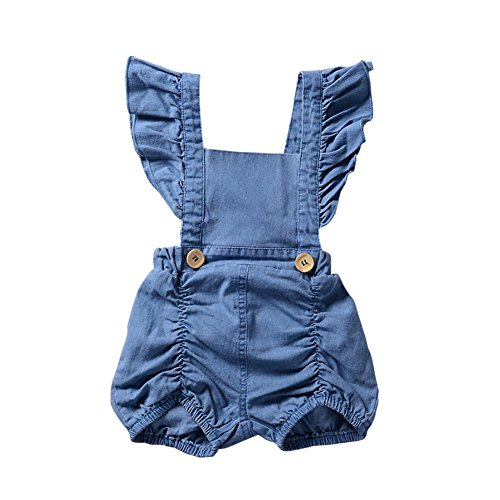 Brightup Säugling Baby Mädchen Denim Rüschen Strampler Overall Sunsuit Outfits Jeans Shorts Kleidung, Baby Mädchen 0-24 Monate Dungarees (Baby-jeans-shorts)