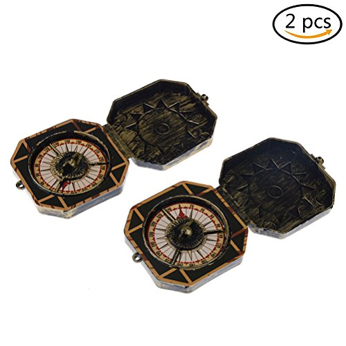 MCREE 2Pirat Goldene Kompass Spielzeug Kostüm Zubehör (Kunststoff Spielzeug, Laserpointer kann nicht drehen)