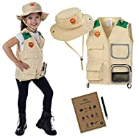 Explorer and Safari costume Vest and Hat Set for Kid Explorer and Outdoor Dress up and Role Play-Great for HALLOWEEN, Park Ranger, Paleontologist, Zoo Keeper Costume, kids fishing and Adventure kids