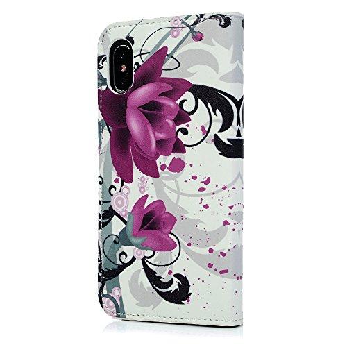 Lanveni Handyhülle für iPhone X Flip Case Cover PU Lederhülle Schutzhülle Magnetverschluss Ledertasche mit Stander Function Brieftasche Card Slot Handy Tasche mit Bunte Gemalt Design (1 x PU Lederhüll Farbe 2