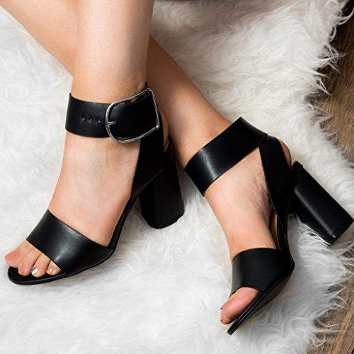 SPYLOVEBUY STACEY Damen Blockabsatz Sandalen Schuhe Pumps mit Weiter Passform Schwarz - Synthetik Kunstleder