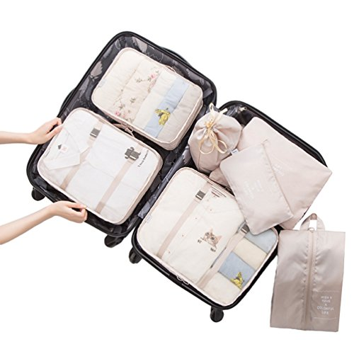 Dexinx Organizadores para Maletas,Set de 7 Viaje Impermeable Organizador de Equipaje para Ropa(3 Cubos Viaje + 4 Bolsas) Beige Blanco