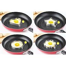 MYNC – 4 Piezas de Acero Inoxidable para cocinar Huevos fritos Anillos para Tortitas Molde Molde