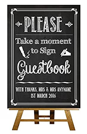 Chalkboard Please Sign Our Guestbook Vintage Personalised Wedding Amazoncouk Office Products